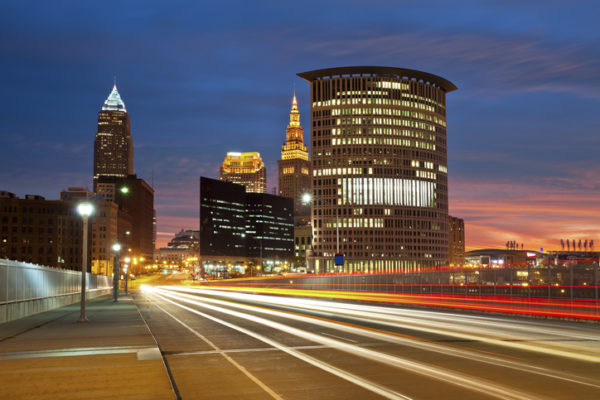 Time lapse photo of Cleveland at night