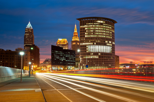 Image of Cleveland downtown at beautiful colorful sunrise.